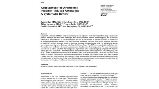 Acupuncture for Aromatase Inhibitor-Induced Arthralgia:A Systematic Review 논문초록